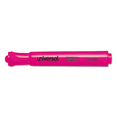 Universal Desk Highlighter, Chisel Tip, Fluorescent Pink, 12/Pk
