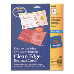 Avery Premium Clean Edge Business Cards, 2 x 3 1/2, White, 8/Sheet, 160/Pack