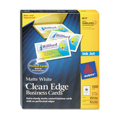 Avery Premium Clean Edge Business Cards, 2 x 3 1/2, White, 10/Sheet, 1000/Box