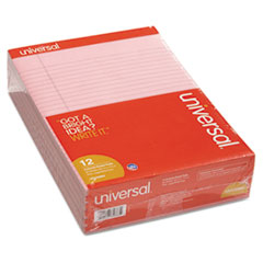 Universal Colored Perforated Note Pads, 8-1/2 x 11, Pink, 50-Sheet, Dozen