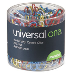 Universal One Paper Clips, Vinyl Coated Wire, Jumbo, Assorted Colors, 250/Pack