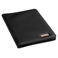 Universal Leather-Look Pad Folio, Inside Flap Pocket w/Card Holder, Black