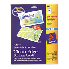 Avery Premium Clean Edge Business Cards, 2 x 3 1/2, White, 10/Sheet, 200/Pack