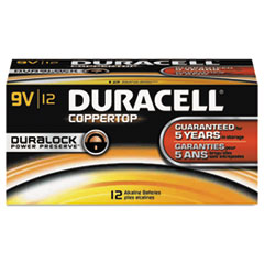 Duracell CopperTop Alkaline Batteries with Duralock Power Preserve Technology, 9V, 12/Pk