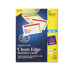 Avery Premium Clean Edge Business Cards, 2 x 3 1/2, Ivory, 10/Sheet, 200/Pack