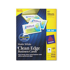 Avery Two-Side Printable Clean Edge Business Cards, Inkjet, 2 x 3-1/2, White, 400/Box