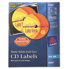 Avery Inkjet Full-Face CD Labels, Matte White, 40/Pack