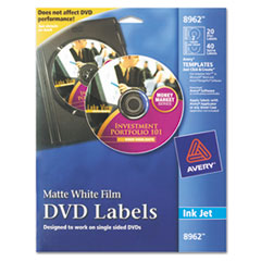 Avery Inkjet DVD Labels, Matte White, 20/Pack