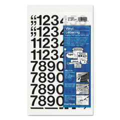 Chartpak Press-On Vinyl Numbers, Self Adhesive, Black, 1