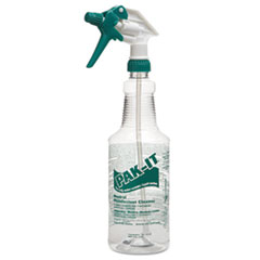 PAK-IT Color-Coded Trigger-Spray Bottle, 32 oz, Green: Neutral Disinfectant Cleaner