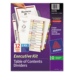 Avery Ready Index Customizable Executive Table of Contents, Asst Dividers, 12-Tab, Ltr