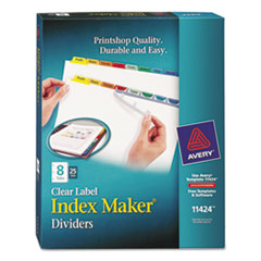 Avery Print & Apply Clear Label Dividers w/Color Tabs, 8-Tab, Letter, 25 Sets