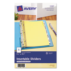 Avery WorkSaver Insertable Tab Index Dividers, 5-Tab, 8-1/2 x 5-1/2, Clear, 1/Set
