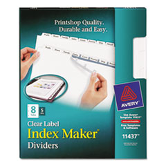Avery Index Maker Clear Label Dividers, 8-Tab, Letter, White, 5 Sets