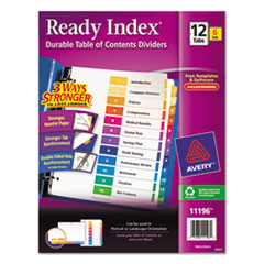 Avery Ready Index Customizable Table of Contents, Asst Dividers, 12-Tab, Ltr, 6 Sets