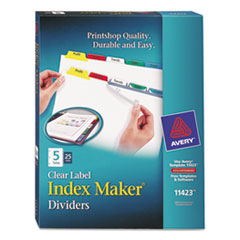 Avery Index Maker Divider w/Multicolor Tabs, 5-Tab, Letter, 25 Sets/Box