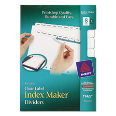 Avery Print & Apply Clear Label Dividers w/White Tabs, 8-Tab, 5 1/2 x 8 1/2