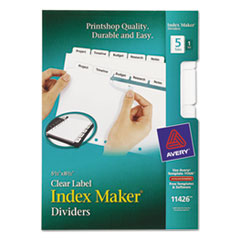 Avery Index Maker Dividers, White 5-Tab, 5 1/2 x 8 1/2