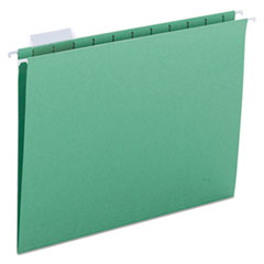 Smead Hanging File Folders, 1/5 Tab, 11 Point Stock, Letter, Bright Green, 25/Box