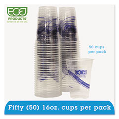 Eco-Products BlueStripe Recycled Content Clear Plastic Cold Drink Cups, 16oz, Clear, 50/Pack