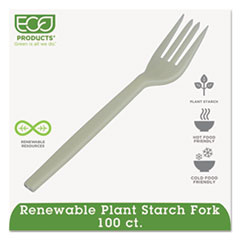 Eco-Products Plant Starch Fork, Cream, 50/Pack