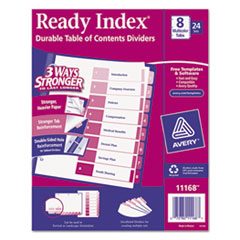 Avery Ready Index Table/Contents Dividers, 8-Tab, 1-8, Letter, Assorted, 24 Sets/Box