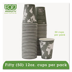 Eco-Products World Art Renewable Resource Compostable Hot Cups, 12oz, Green, 50/Pack