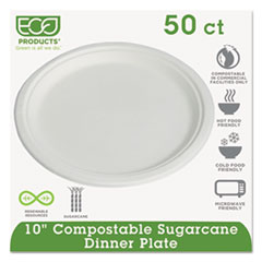 Eco-Products Compostable Sugarcane Dinnerware, 10