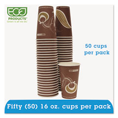 Eco-Products Evolution World 24% PCF Hot Drink Cups, 16oz, Purple, 50/Pack
