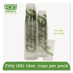 Eco-Products GreenStripe Cold Drink Cups, 16oz, Clear, 50/Pack