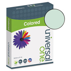 Universal One Colored Paper, 20lb, 8-1/2 x 11, Green, 500 Sheets/Ream
