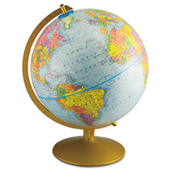 Advantus 12-Inch Globe with Blue Oceans, Gold-Toned Metal Desktop Base