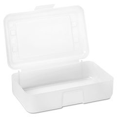 Advantus Gem Polypropylene Pencil Box with Lid, Clear, 8 1/2 x 5 1/2 x 2 1/2