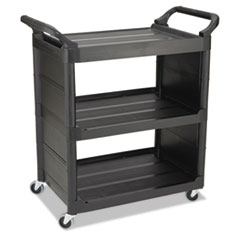 RCP 3421BLA Rubbermaid  Commercial Three-Shelf Service Cart RCP3421BLA