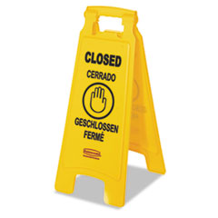 """RCP 611278YEL Rubbermaid Commercial Multilingual """"Closed"""" Folding Floor Sign RCP611278YEL"""