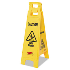 "RCP 611477YEL Rubbermaid Commercial ""Caution Wet Floor"" 4-Sided Floor Sign RCP611477YEL"