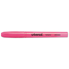 Universal Pocket Clip Highlighter, Chisel Tip, Fluorescent Pink Ink, 1 Dozen