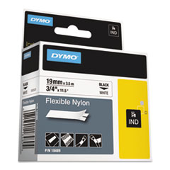 DYMO Rhino Flexible Nylon Industrial Label Tape Cassette, 3/4in x 11-1/2 ft, White