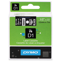 D1 Standard Tape Cartridge for Dymo Label Makers, 1/2in x 23ft, White on Black