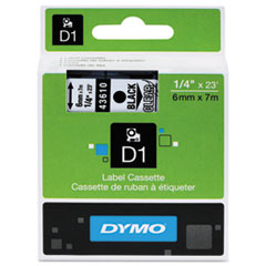 D1 Standard Tape Cartridge for Dymo Label Makers, 1/4in x 23ft, Black on Clear