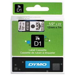 DYMO D1 Polyester High-Performance Removable Label Tape, 1/2in x 23ft, Black on Clear