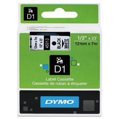 D1 Standard Tape Cartridge for Dymo Label Makers, 1/2in x 23ft, Black on White