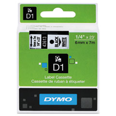 D1 Standard Tape Cartridge for Dymo Label Makers, 1/4in x 23ft, Black on White