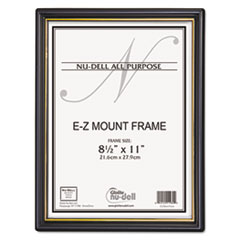 NuDell EZ Mount Document Frame w/Trim Accent, Plastic, 8-1/2 x 11, Black/Gold, 18/CT
