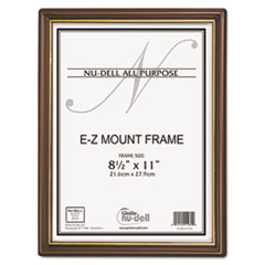 NuDell EZ Mount Document Frame with Trim Accent, Plastic, 8-1/2 x 11, Walnut/Gold