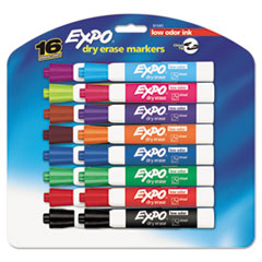 EXPO Low Odor Dry Erase Marker, Chisel Tip, Assorted, 16/Set
