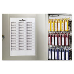 Durable Locking Key Cabinet, 54-Key, Brushed Aluminum, Silver, 11 3/4 x 4 5/8 x 11