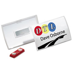 Durable Click-Fold Convex Name Badge Holder, Double Magnets, 3 3/4 x 2 1/4, Clear, 10/Pk