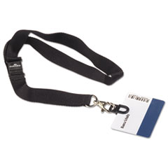 Durable CARD FIX Card Holder, w/Lanyard, Black, 10/Box