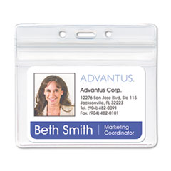 Advantus Resealable ID Badge Holder, Horizontal, 3 3/4w x 2 5/8h, Clear, 50/Pack